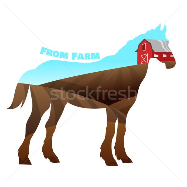 лошади силуэта текста фермы небе счастливым Сток-фото © Dashikka