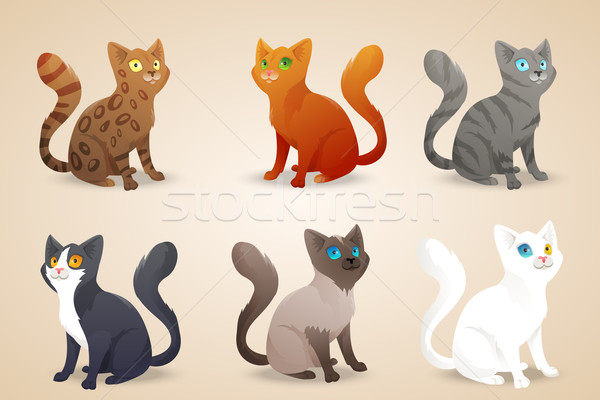 Set of cute cartoon cats with different colored fur and type of coat, breeds. Isolated. Stock photo © Dashikka