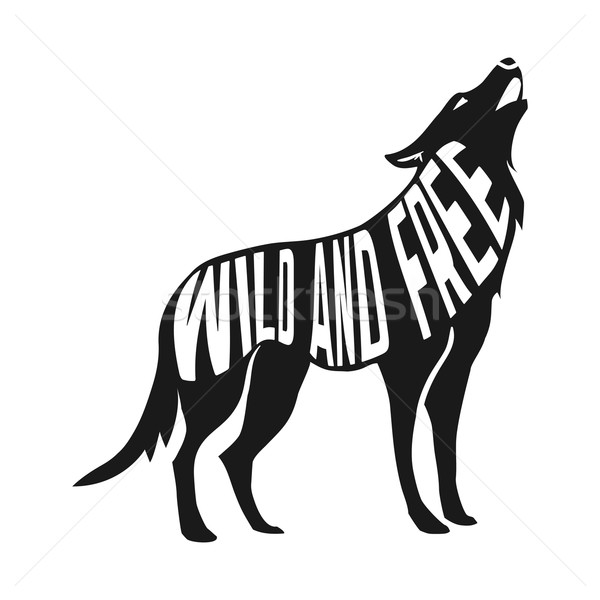 Wolf silhouette with concept text inside on blur background Stock photo © Dashikka