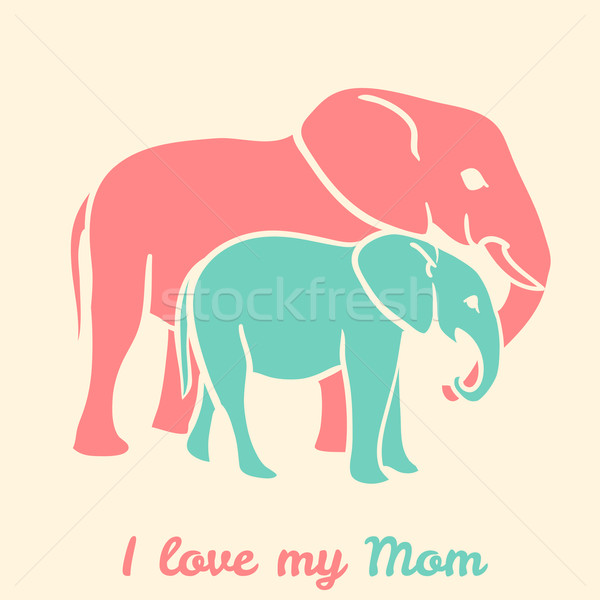 Anneler gün filler metin sevmek benim Stok fotoğraf © Dashikka