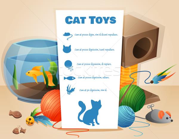 Macska játékok szöveg papír étel művészet Stock fotó © Dashikka