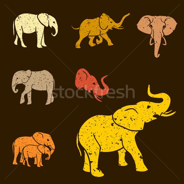 Elefántok szett sziluettek grunge terv sötét Stock fotó © Dashikka