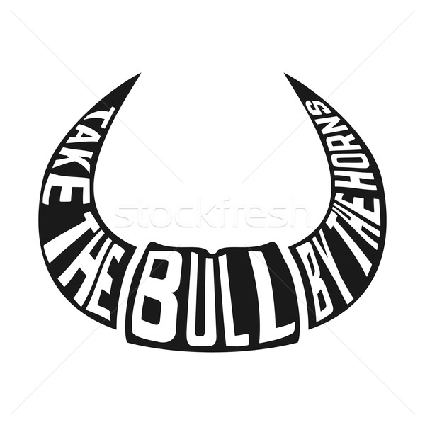 Isolated silhouette of horns with concept phrase Stock photo © Dashikka