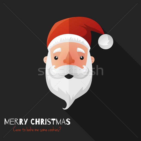 Noel baba yüz dizayn vektör ikon tebrik kartı Stok fotoğraf © Dashikka