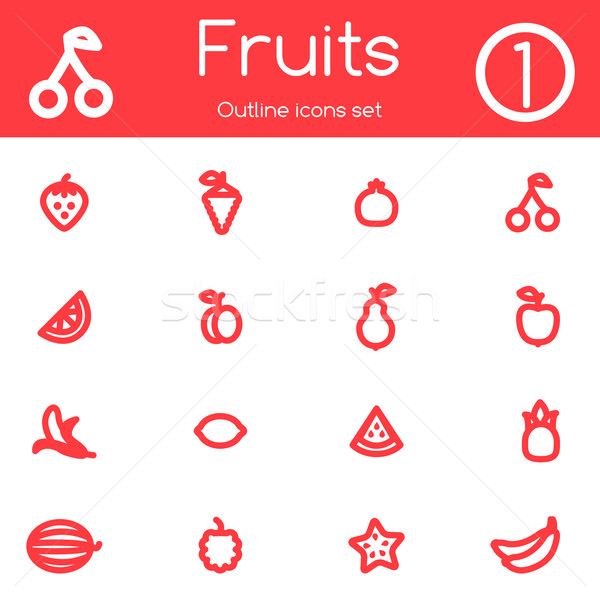 Meyve simgeler meyve imzalamak Stok fotoğraf © Dashikka