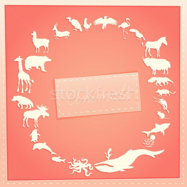 Rózsaszín poszter lányok állatok sziluettek körül Stock fotó © Dashikka