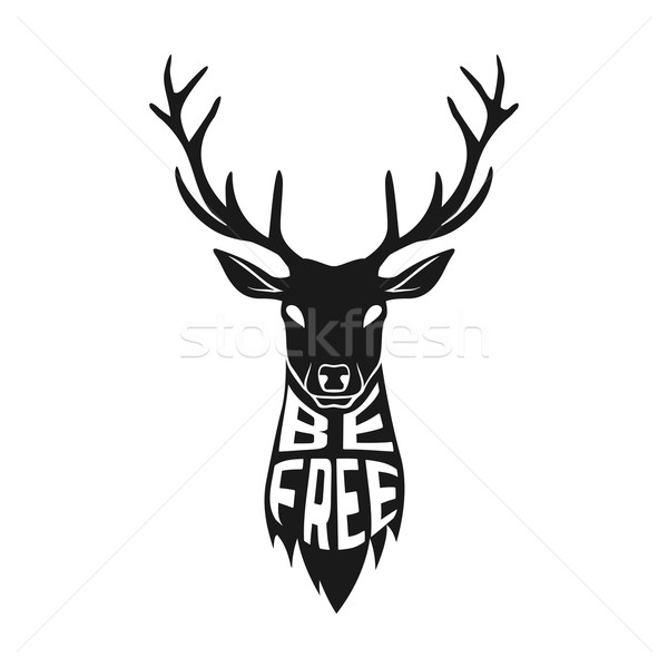 Concept silhouette of deer head with text inside on white background. Stock photo © Dashikka