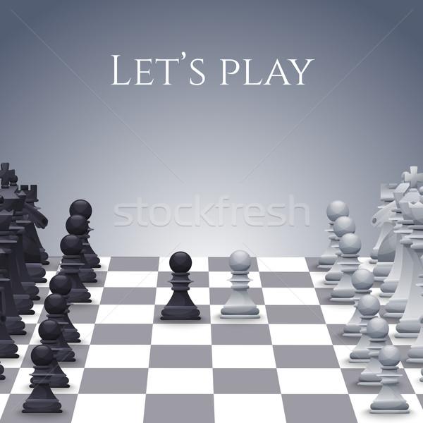 вектора шахматам совета черно белые иллюстрация лошади Сток-фото © Dashikka
