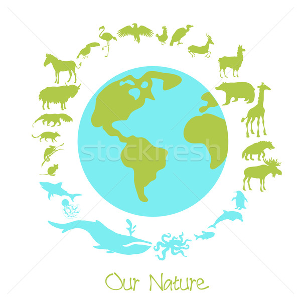 Different animal silhouettes in circle around the planet earth. Concept of eco problems and save nut Stock photo © Dashikka