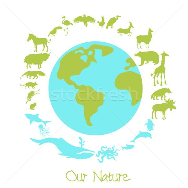 различный животного круга вокруг планете Земля Сток-фото © Dashikka