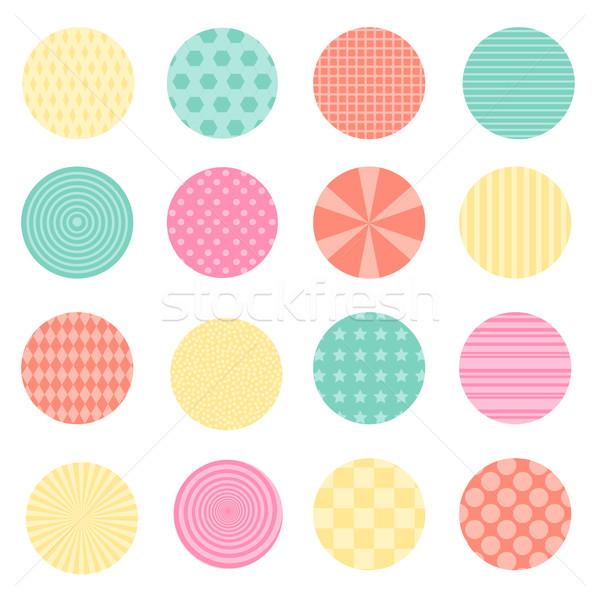 Круги ретро дизайна цветами бумаги текстуры Сток-фото © Dashikka