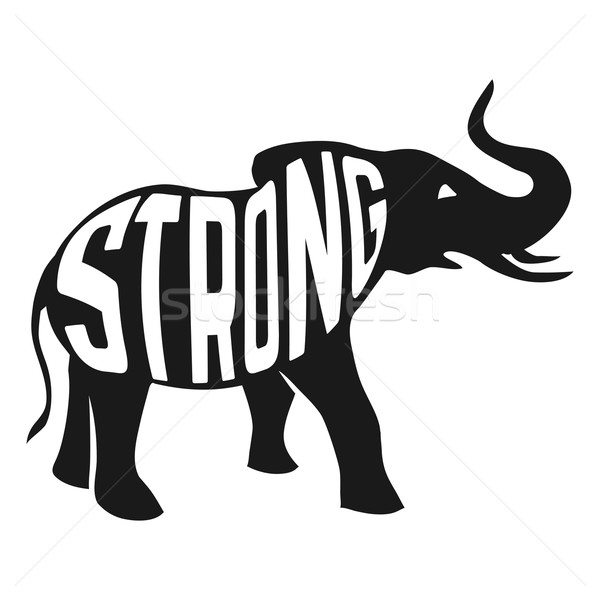 Silhouette of strong elephant with text inside on white background. Stock photo © Dashikka
