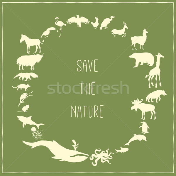 Concept green poster with animals silhouettes around text inside.  Stock photo © Dashikka