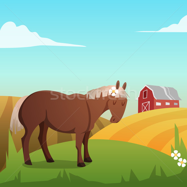 Cute vector horse, with landscape in background Stock photo © Dashikka