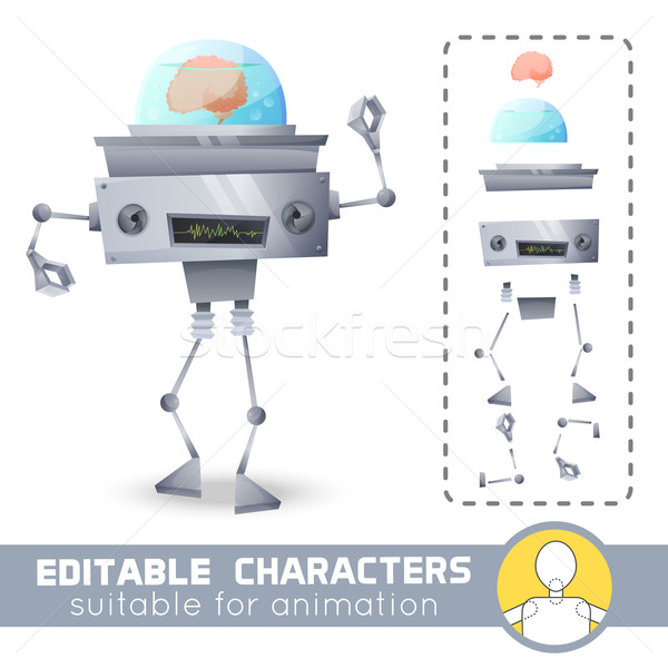 Fantastic alien steel robot with brain inside system. Sci-fi style. You can change color, position o Stock photo © Dashikka