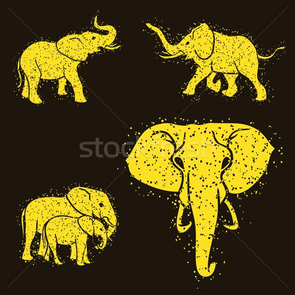 Сток-фото: Слоны · набор · Гранж · дизайна · искусства · Африка