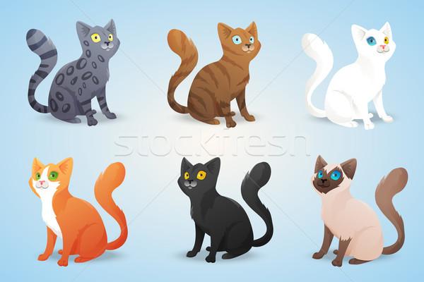 Set Drăguţ Desen Animat Pisici Diferit Colorat