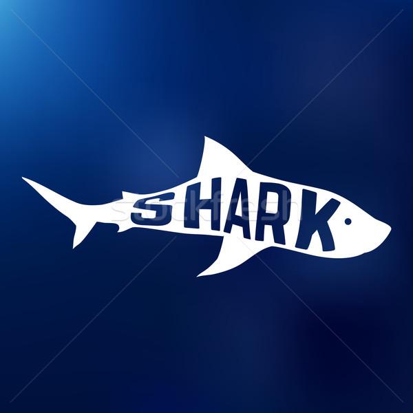 Biały rekina sylwetka tekst wewnątrz logo Zdjęcia stock © Dashikka