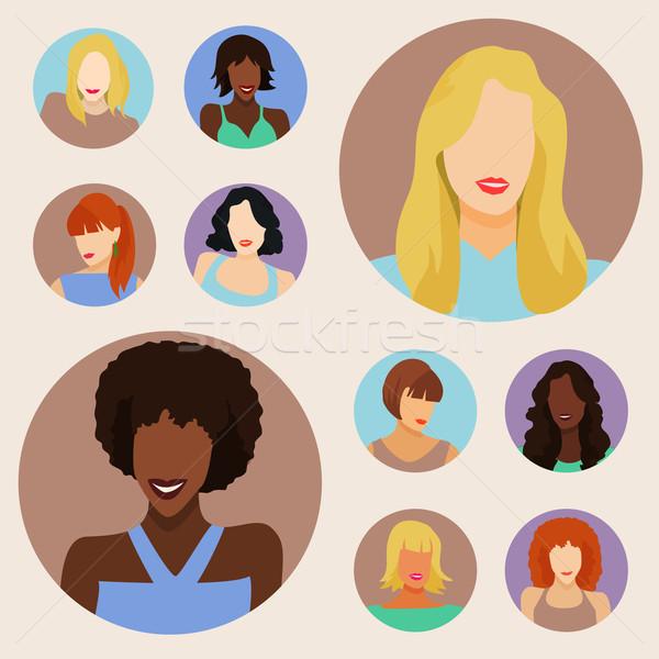 набор женщины портретов женщину моде студент Сток-фото © Dashikka