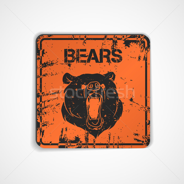 Old metal plate with bear Stock photo © Dashikka