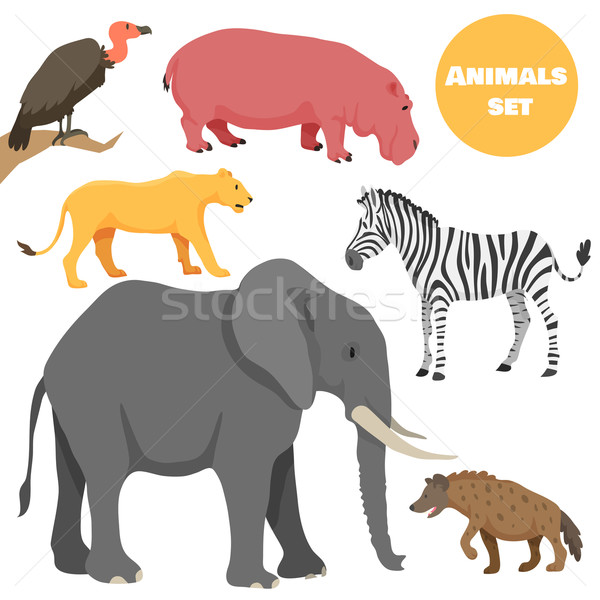 Cute african animals set for kids in cartoon style. Suitable for logotype or emblem. Stock photo © Dashikka
