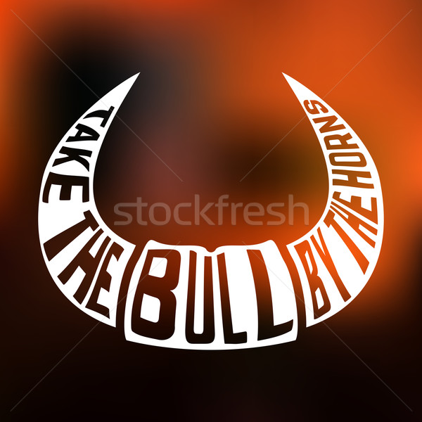 Concept silhouette with text inside take bull by the horns on blur background. Stock photo © Dashikka