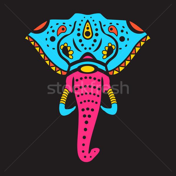 インド 象 頭 図面 デザイン 芸術 ストックフォト © Dashikka