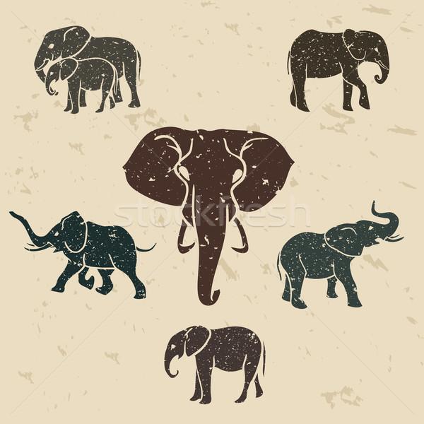 Elefántok szett grunge terv textúra kő Stock fotó © Dashikka