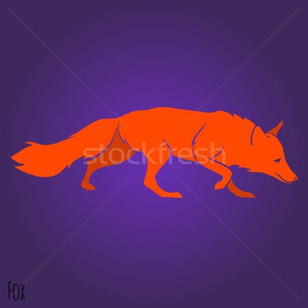 красный работает Fox силуэта дизайна голову Сток-фото © Dashikka