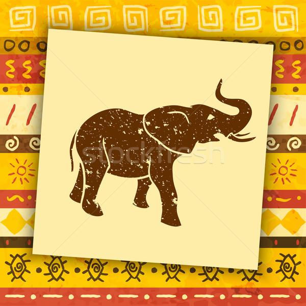 Сток-фото: слон · силуэта · африканских · декоративный · дизайна · искусства