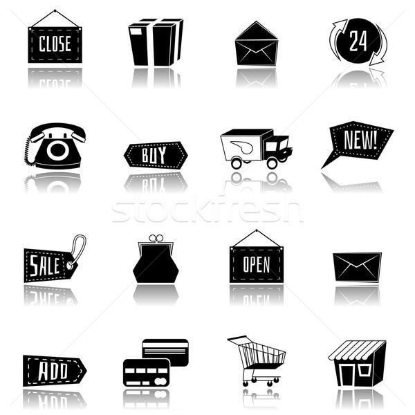Vektör ayarlamak siyah beyaz alışveriş simgeler modern Stok fotoğraf © Dashikka