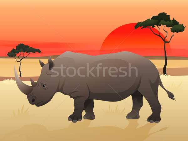 Beautiful wild african animal illustration. Big Rhino standing on the grass with african savannah, s Stock photo © Dashikka