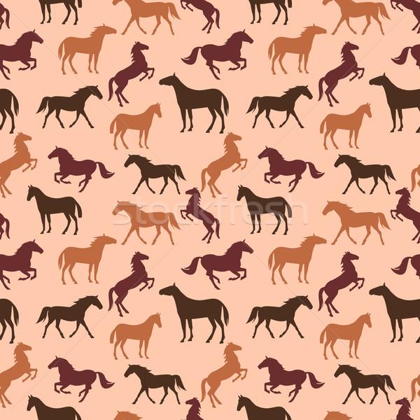 Ló végtelen minta sziluettek végtelenített barna minta Stock fotó © Dashikka