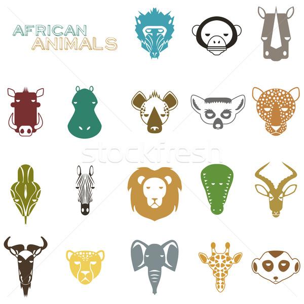 африканских животные цвета иконки животного портрет Сток-фото © Dashikka