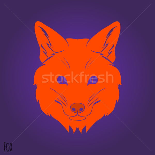 Visage rouge Fox silhouette design courir Photo stock © Dashikka