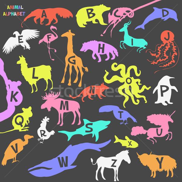 Animal alfabeto cartaz crianças animais silhuetas Foto stock © Dashikka