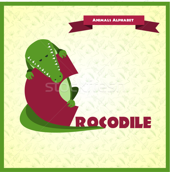 ábécé c betű krokodil illusztrált könyv zöld Stock fotó © Dashikka