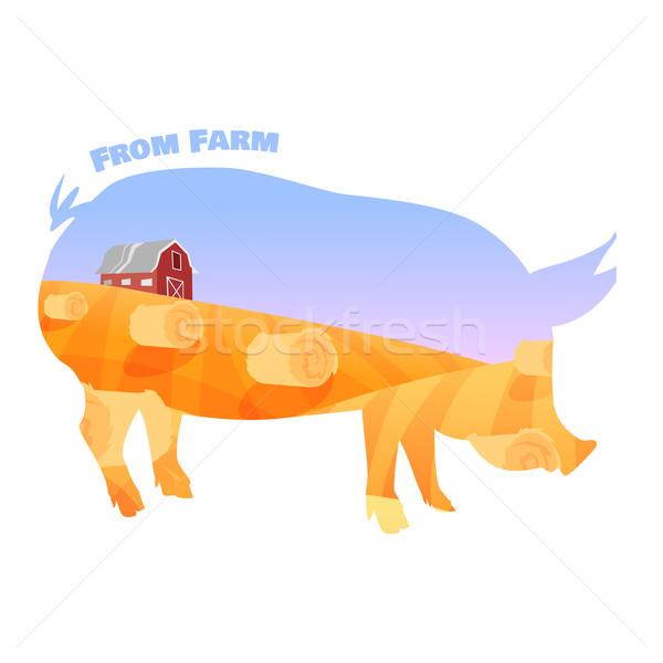 豚 シルエット ダブル 暴露 美しい ファーム ストックフォト © Dashikka
