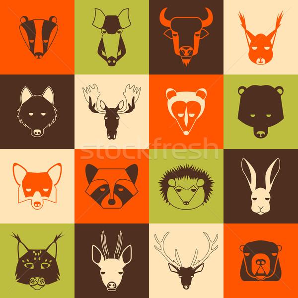 лес животные Cool дизайна лице Сток-фото © Dashikka
