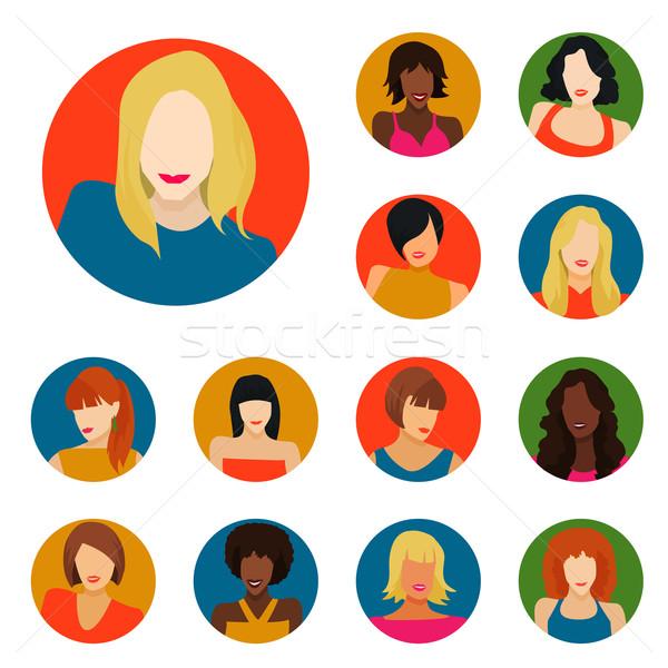 набор женщины портретов иконки женщину моде Сток-фото © Dashikka