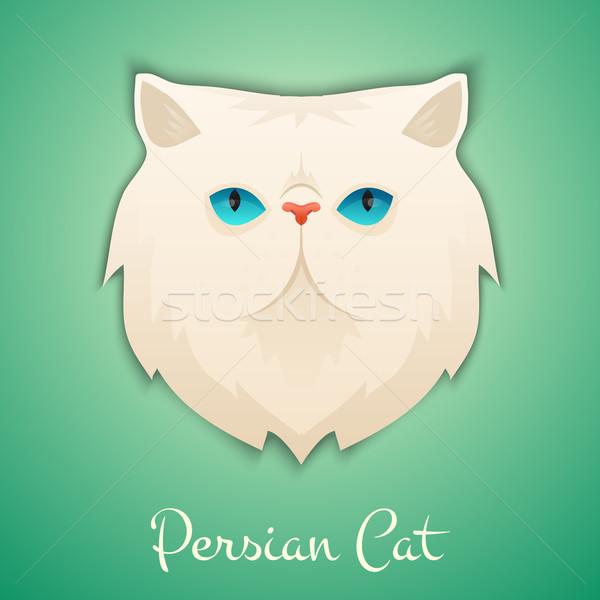 ペルシャ猫 顔 孤立した 影 猫 デザイン ストックフォト © Dashikka