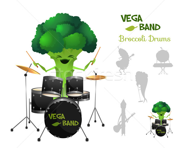 Funny and smiley brocolli playing drums with band. Vegaband characters concept collection. Suitable  Stock photo © Dashikka