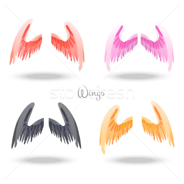 Set of different colored pair of magic wings. Suitable for animation, video and games Stock photo © Dashikka