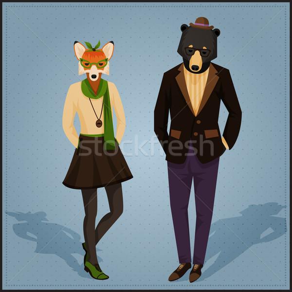 моде животные пару Fox несут Сток-фото © Dashikka