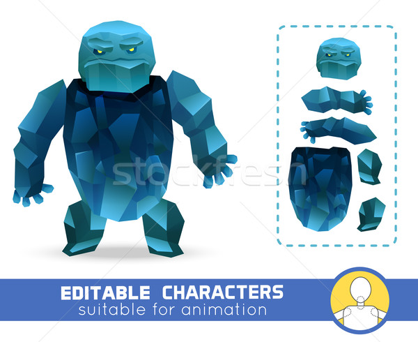 Evil cartoon ice rock monster editable elemental character. Neutral, negative or positive editable c Stock photo © Dashikka