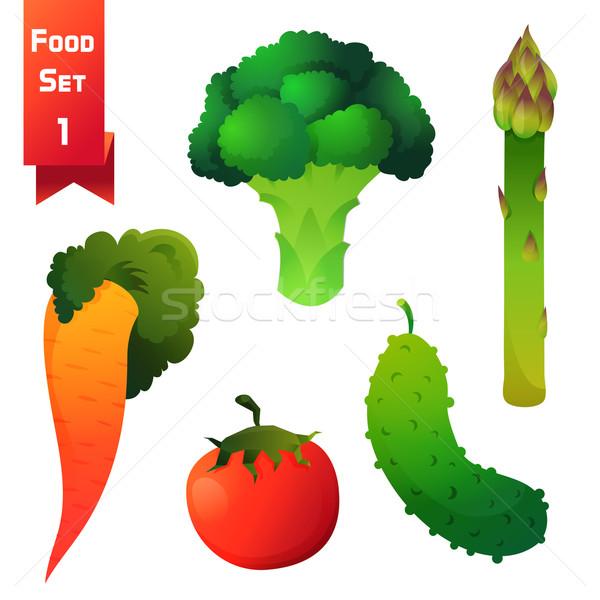 Ayarlamak sulu sebze yeşil brokoli kuşkonmaz Stok fotoğraf © Dashikka