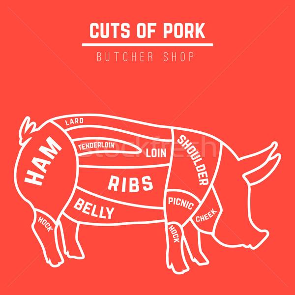 Cuts of pork Stock photo © Dashikka