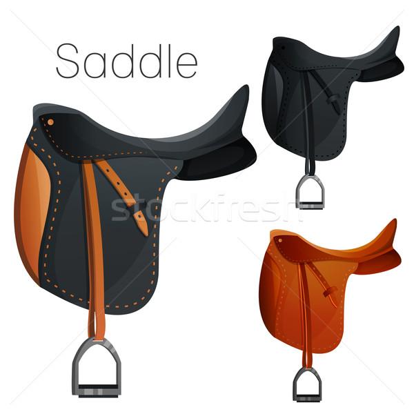 Set of equesrtian equipment for horse Stock photo © Dashikka