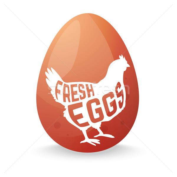 Huevo pollo silueta dentro signo aves Foto stock © Dashikka