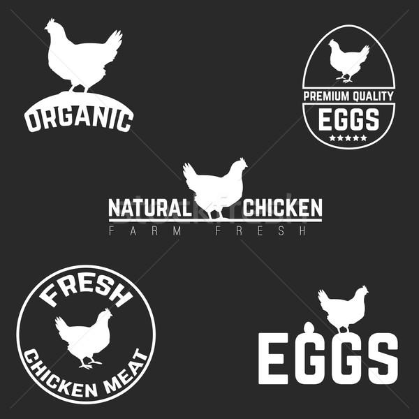 набор куриные яйца логотип эмблема природного Сток-фото © Dashikka